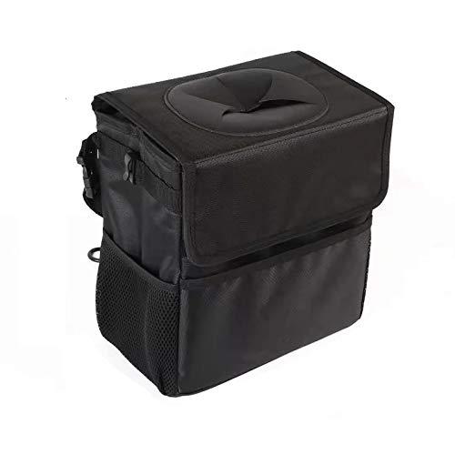 Auto Mülleimer mit Deckel, Wasserdicht Auslaufsicher Abfalltasche Auto, Zusammenfaltbare Organizer Abfall-Tasche für Unterwegs,Schwarz,12 Liter(groß)
