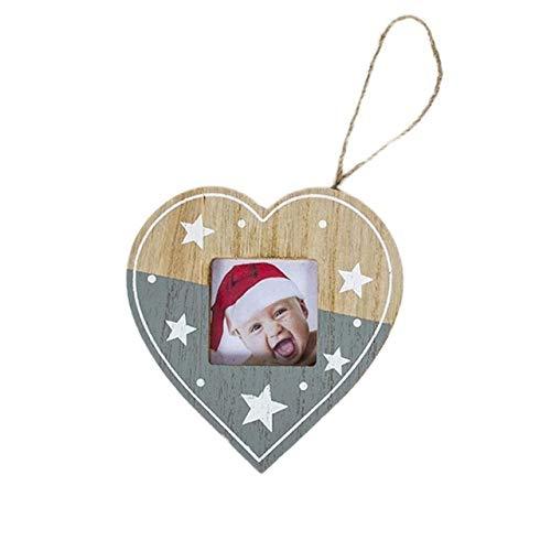 WERNG Decoraciones navideñas DIY Marco de Fotos de Madera Colgante Decoraciones navideñas Ree Adornos Decoraciones navideñas para el hogar Navidad Multi