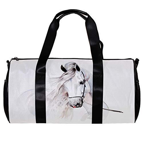 Runde Sporttasche mit abnehmbarem Schultergurt, Wasserfarben, andalusisches Pferde-Training, Handtasche für Damen und Herren
