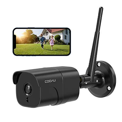 COOAU 防犯カメラ 屋外1080P 200万画素 ネットワークカメラ IPカメラ 動体検知 遠隔監視 暗視撮影 スマホ対応 双方向音声 自動上書き 監視カメラ 見守りカメラ ios android対応 SDカード対応 クラウド保存 日本語アプリ 日本語説明書 黒