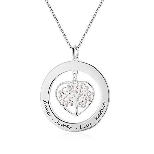 Bo&Pao Lebensbaum Namenskette 925 Sterling Silber, Baum Kette mit Gravur, Familien Stammbaumkette Herz