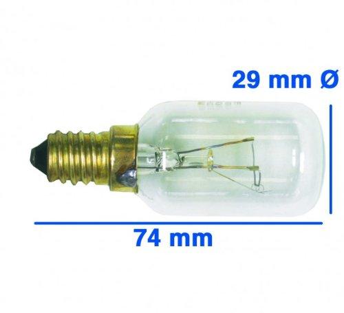 Unbekannt Lampe E14 40W 230/240V, OT! Backofen-/Dunstabzugshaubenlampe mit Gewinde E 14, bis 300° C - Glaskörper: 29 mm Ø - Röhrenlampe -