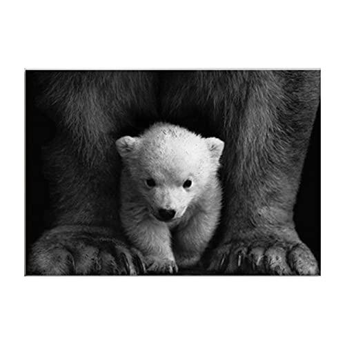 cuadros decoracion salon listones de madera|50x70cm|Frameloos Animal blanco y negro nórdico cachorro oso imágenes de pared decoración de habitación de niños arte de guardería
