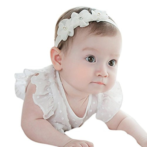 Saingace Baby-Kind-Mädchen-Prinzessin-Kristalldiamant-Stirnband-Blumen-elastisches Haar-Band (Weiß)