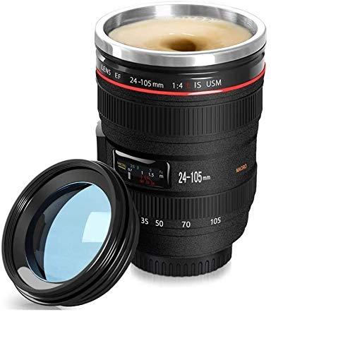 Selbstrührende Kameraobjektiv Kaffeetasse-Teetasse mit Deckel,Edelstahl, auslaufsicher, schwarz, Geeignet für Reisen, Büro, Autotasse 24-105 MM F / 4,0 l USM