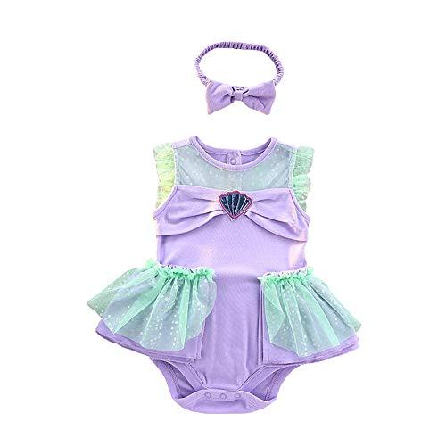 Lito Angels Niñas Bebé Disfraz de Princesa Sirena Vestido de Romper el Pijama Mono Cumpleaños Navidad Halloween Fiesta con Diadema Talla 6-9 Meses
