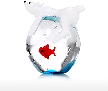Tooarts Mini Oso Polar y Peces Arte Animal Hecho a Mano Arte de Cristal Soplado a Mano Estatuilla Decoración del hogar