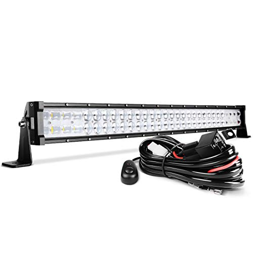 32'' LED Light Bar DWVO 390W Straight 48000LM Upgrade Chipset with 8ft Wiring Harness for Offroad Driving Fog Lamp Marine Boating IP68 WATERPROOF Spot & Flood Combo Beam Light Bars, 2 Year Warranty