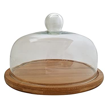 Royal Brands - Bamboo Cupcake Stand, Cake Holder, Dessert and Appetizer Round Centerpiece, Glass Dome Cloche Lid - Perfect for Holding Your Delicious Cakes and Food (Small 10 )