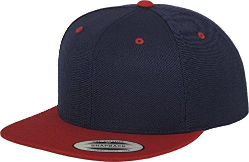 Yupoong Flexfit Unisex Kappe Classic Snapback 2-Tone, zweifarbige blanko Cap mit geradem Schirm, One Size Einheitsgröße für Männer und Frauen, Farbe nvy/red