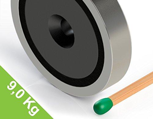 Topfmagnet Ferrit 40x8 mm mit Bohrung und Senkung