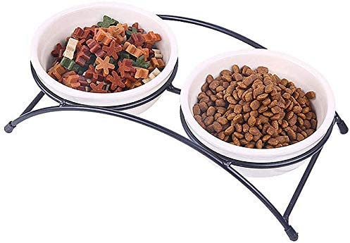 Ceramic Double Bowl Raised Stand Feed Clean Credence Tray Easy M famous for Suit