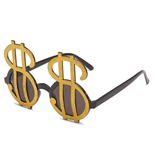 NOBRAND 2pcs De La Novedad Gafas, Dólar Symbol Divertida Gafas De Sol ,Fiesta Divertido Gafas De Sol (Color : Black-Gold)