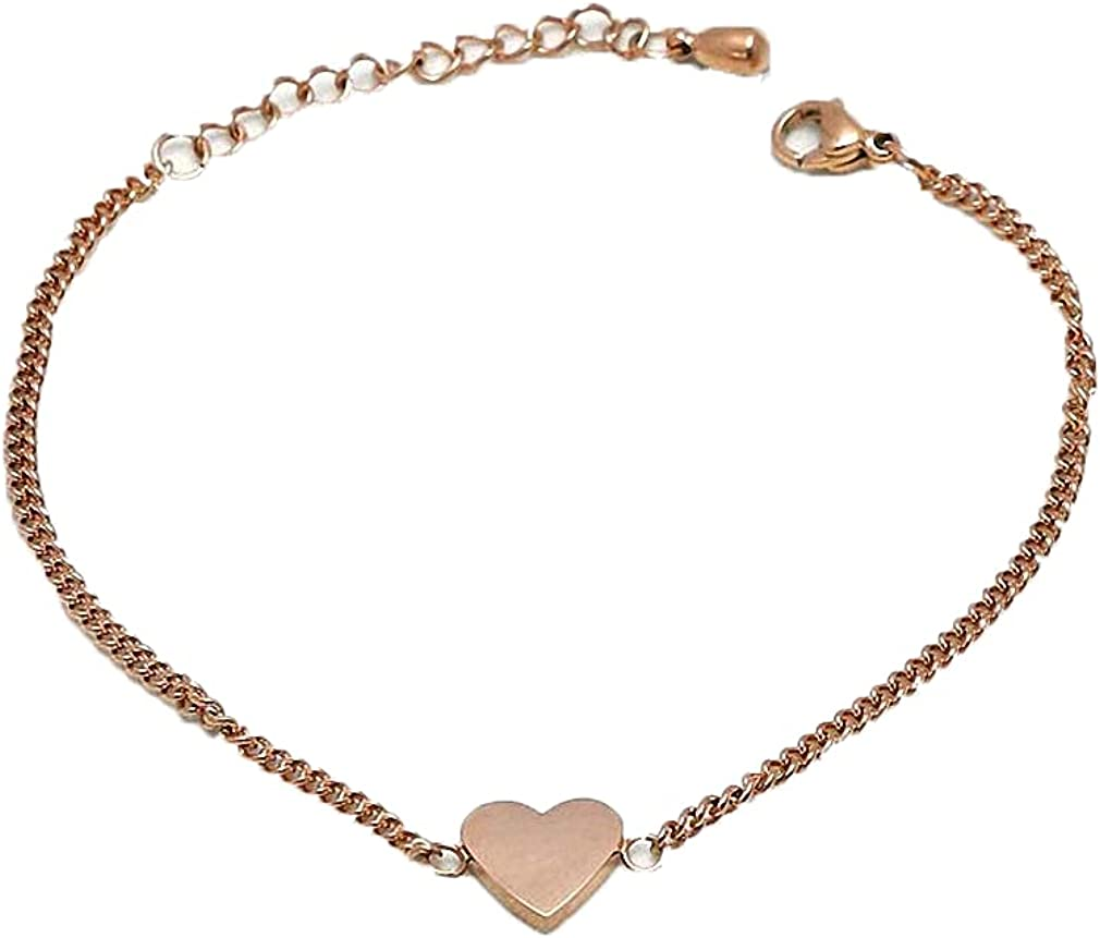 Barsly Stainless Steel Cute Heart Bracelet High Polish Heart Pendant Link Bracelet As