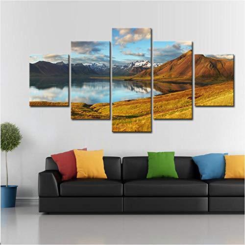 Gtfzjb 5 Stks/Set Bergen met Lake Canvas Print Schilderen Moderne Grote Natuur Landschap Muur Kunstfoto voor Home Decor