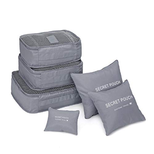 Jkhome Waterproof Travel Storage Bags Nylon Dust-proof Space Saving Packing Cubes System Multi-functional Clothing Sorting Packages Durable Luggage Organizer Pouch Set of 6 (Grey)