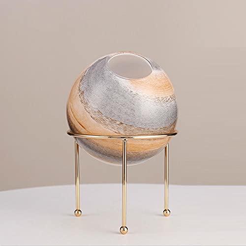 GLKHM Figuritas Decorativas Escultura Decoración De Jarrón De Cristal Planeta Marmolado Soporte De Metal Adornos De Decoración del Hogar