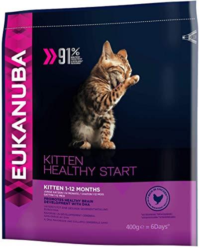 Eukanuba Premium Katzenfutter, 100% ausgewogenes Trockenfutter mit viel Huhn, abgestimmt auf Kitten / Junior Katzen, 400 g