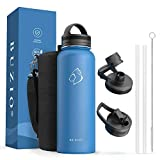 BUZIO 40 oz Stainless Steel Insulated Water Bottle, Water Bottle with Straw Lids, Canteen Metal Thermo Mug Hydro Cup Jug, Double Vacuum Hot Cold Water Bottles with Carrying Pouch, Blue