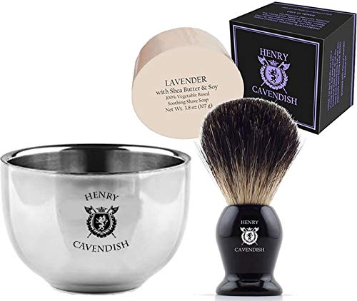 Henry Cavendish Shaving Kit with - Lavender Shaving Soap, Long Lasting 3.8 oz Puck Refill, plus Stainless Steel Shaving Soap Bowl, plus Gentleman's 100% Pure Badger Hair Shaving Brush.