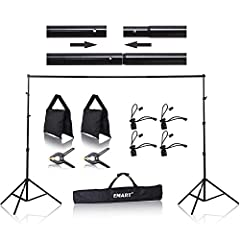 Super simple set-up whether indoors or outdoors active, portable photo backdrop stand with the convenient carrying case. Photography lightweight background support system for backdrops, including filled sandbags to stabilize the background stand. Tip...