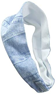 615-JEANS - Fascia per capelli microfibra stampa jeans - larghezza cm 10 - Fasce per capelli