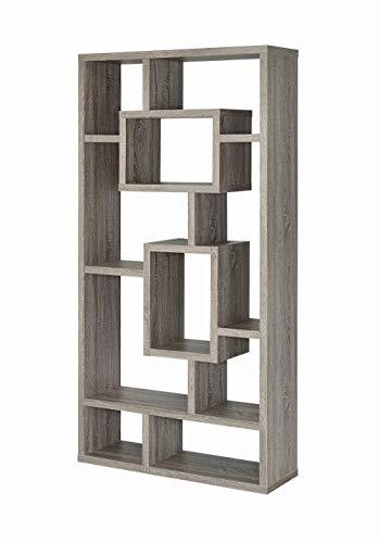"Coaster Home Furnishings Geometric Cubed Rectangular Bookcase, 11.5"" D x 35.5"" W x 70.75"" H, Weathered Grey"