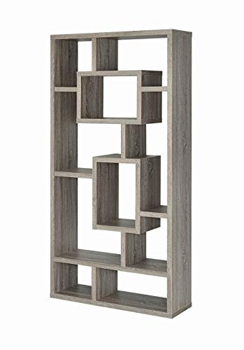 Mejor Bestier 5 Shelf Bookcase S-Shaped, Geometric Bookcase Wood Storage Corner Shelves, Z Shaped 5 Tier Vintage Industrial Etagere Bookshelf Stand for Home Office Living Room Decor Books Display (Brown) crítica 2020