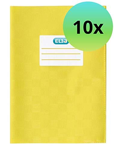 ELBA 100420083 Heft-Hüllen A5 10er Pack geprägt in Bast-Optik Heft-Umschlag in gelb, Buch-Schoner mit Einband, flexibel & abwischbar