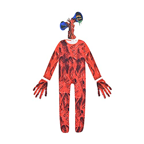 Disfraz de Cabeza de Sirena para niños, Mono de Cabeza de Sirena de Monstruo de Terror, Traje de Fiesta de Halloween, Disfraz de Cosplay, Conjunto Completo para niños y niñas