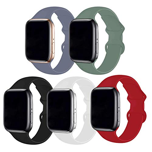 Bifeiyo 5 Pack Compatible with Apple Watch Band 38mm 40mm SM,Soft Silicone Sport Replacement Straps Compatible for iWatch Series6/5/4/3/2/1/SE(Lavender Gray/Pine Green/Black/White/Red)