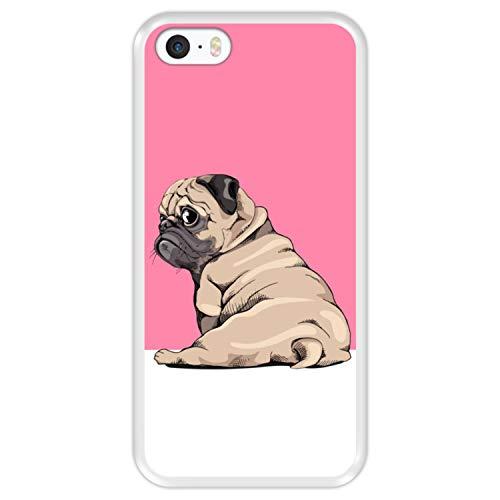 Hapdey Funda Transparente para [ Apple iPhone 5 5S SE ] diseño [ Cachorros Beige Pug posando 3 ] Carcasa Silicona Flexible TPU