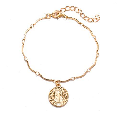 N/A Joyas de Pulsera Minimalismo Moneda Pulsera de Cadena de Oro Cadena de Moda Pulsera con dijes Trend Metal Mujeres Boho Jewe Regalo de cumpleaños de San Valentín