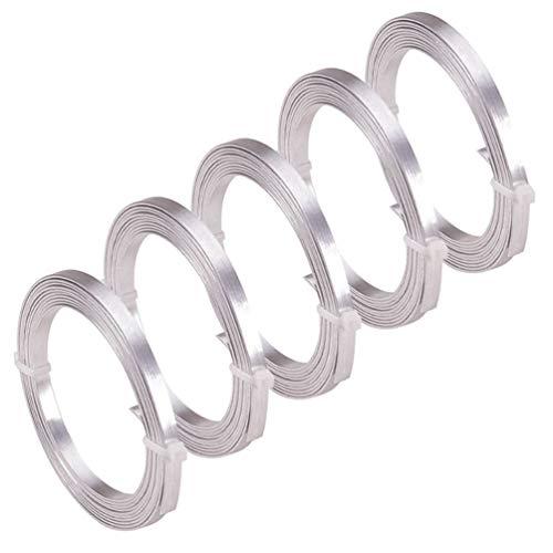 EXCEART Kit de Material de Pulsera de Alambre de Fabricación Plana de Aluminio para Hacer Manualidades de Joyería DIY 5 Rollos