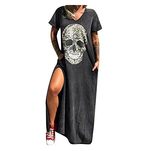Damen Seitenschlitz Kleider Sexy Kragen SchäDel Druck Langen Rock Mode V-Ausschnitt Kleid Sommerkleid LäSsigen Strandrock Knielangen Strandrock