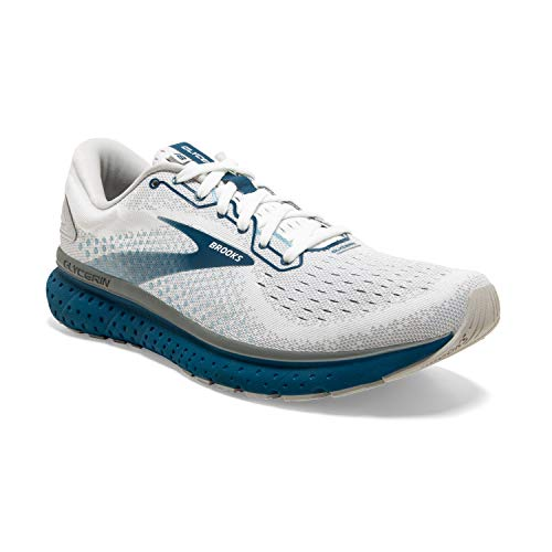 Brooks Mens Glycerin 18 Running Shoe - White/Grey/Poseidon - D - 10
