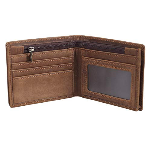 Polare Men's RFID Blocking Cowboy Genuine Natural Crazy Horse Leather Bifold Wallet (Small)