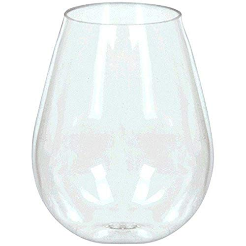 Amscan Mini Stemless Wine Glasses, 4oz, Clear