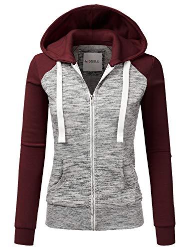 Doublju Womens Sweatshirt Hoodies Casual Raglan Zip up Hoodie Jacket MELANGEBURGUNDY M