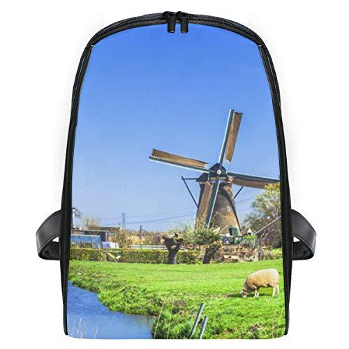 FANTAZIO Spring Dutch Windmill con corderos mochila de viaje, delgada, duradera, mochila de guardería, escuela, bolsa para niños