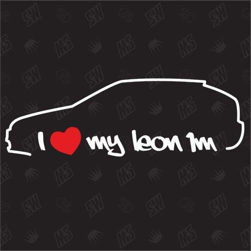 speedwerk-motorwear I Love My Leon 1M - Sticker kompatibel mit Seat - Baujahr 1999-2006