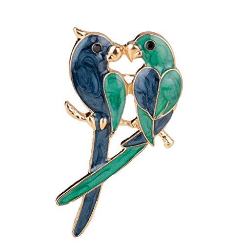 YAZILIND Delicado Azul y Verde inseparable 2 Aves broches de aleación de Las Mujeres de los Pernos de Las niñas Accesorios