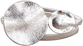 Dress with Elastic Metal Belt Metal Silver Gold Ladies Belt Elastic Tight Female Round Leaf Buckle Ladies Belt Personality Double Round Buckle Firm (Color : Silver)