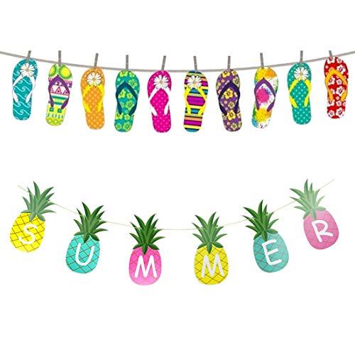 Hawaiian Luau Tropical Banner Sommer Party Dekorationen mit Flip Flops Girlande Banner Sommer Ananas Banner für Jungen Mädchen Geburtstag Sommer Theme Party