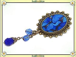 Spilla retro resina farfalla blu grigio ottone bronzo perline regalo vetro personalizzato natale amico festa della mamma c...