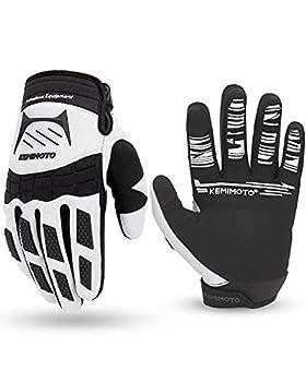 kemimoto Dirt Bike Gloves for Men Women Mountain Bike Gloves Touch-Screen Breathable Motocross Gloves ATV BMX MTB MX Motorcycle Riding Gloves M White