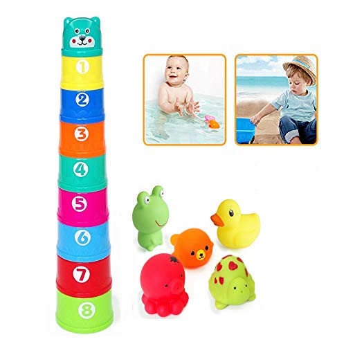 AISHN Bath Toys, 14pcs Nesting and Stacking Cups Floating Toys and Squirt Toys Animals Rubber Water Spray Set
