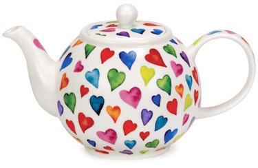 DUNOON Bone China Teekanne mit warm Hearts Design In großen 1.2L