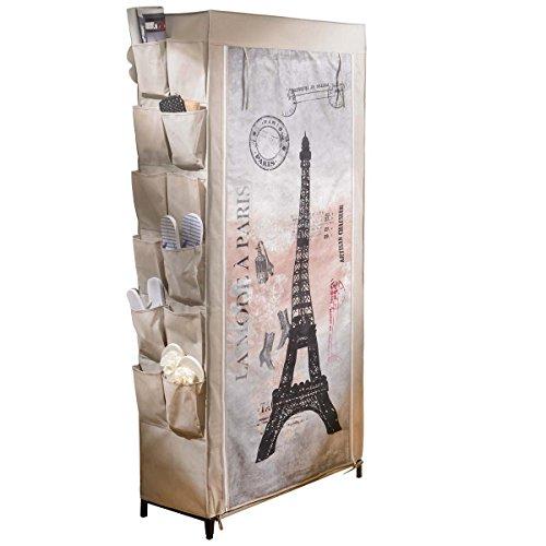 Pureday Schuhregal Schuhschrank Paris Motiv ca. B80 x T30 x H170 cm Metallgestell Vlies-Verkleidung