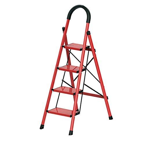 Multifunctionele aluminiumlegering ladder, lichte viertraps ladder/geschikt voor het ophangen van gordijnen/vouwdikte 5 cm dagelijkse benodigdheden stabiel Rood